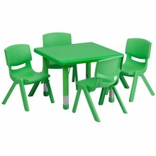 """Flash Furniture YU-YCX-0023-2-SQR-TBL-GREEN-E-GG 24"""" Square Adjustable Green Plastic Activity Table Set with 4 School Stack Chairs"""