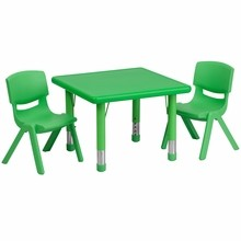 24'' Square Adjustable Green Plastic Activity Table Set with 2 School Stack Chairs