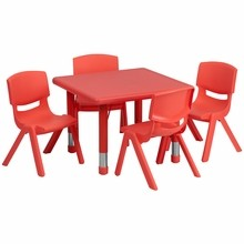 Flash Furniture YU-YCX-0023-2-SQR-TBL-RED-E-GG 24'' Square Adjustable Red Plastic Activity Table Set with 4 School Stack Chairs