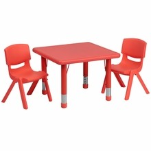 Flash Furniture YU-YCX-0023-2-SQR-TBL-RED-R-GG 24'' Square Adjustable Red Plastic Activity Table Set with 2 School Stack Chairs