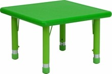 Flash Furniture YU-YCX-002-2-SQR-TBL-GREEN-GG 24'' Square Height Adjustable Green Plastic Activity Table