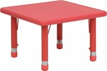 24'' Square Height Adjustable Red Plastic Activity Table