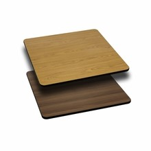 Flash Furniture XU-WNT-2424-GG 24'' Square Table Top with Natural or Walnut Reversible Laminate Top