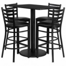 "Flash Furniture RSRB1017-GG 24"" x 42"" Rectangular Black Laminate Table Set with 4 Ladder Back Metal Bar Stools, Black Vinyl Seat"