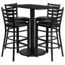 Flash Furniture RSRB1017-GG 24'' x 42'' Rectangular Black Laminate Table Set with 4 Ladder Back Metal Bar Stools, Black Vinyl Seat