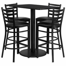 24'' x 42'' Rectangular Black Laminate Table Set with 4 Ladder Back Metal Bar Stools - Black Vinyl Seat