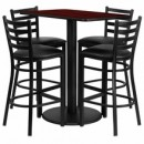 "Flash Furniture RSRB1018-GG 24"" x 42"" Rectangular Mahogany Laminate Table Set with 4 Ladder Back Metal Bar Stools, Black Vinyl Seat"