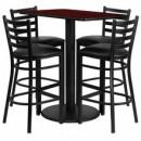 Flash Furniture RSRB1018-GG 24'' x 42'' Rectangular Mahogany Laminate Table Set with 4 Ladder Back Metal Bar Stools, Black Vinyl Seat