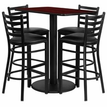 24'' x 42'' Rectangular Mahogany Laminate Table Set with 4 Ladder Back Metal Bar Stools - Black Vinyl Seat