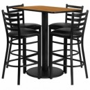 "Flash Furniture RSRB1019-GG 24"" x 42"" Rectangular Natural Laminate Table Set with 4 Ladder Back Metal Bar Stools, Black Vinyl Seat"
