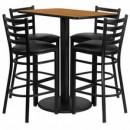 Flash Furniture RSRB1019-GG 24'' x 42'' Rectangular Natural Laminate Table Set with 4 Ladder Back Metal Bar Stools, Black Vinyl Seat