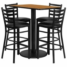 Flash Furniture RSRB1019-GG 24'' x 42'' Rectangular Natural Laminate Table Set with 4 Ladder Back Metal Bar Stools, Black Vinyl Seat
