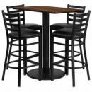 "Flash Furniture RSRB1020-GG 24"" x 42"" Rectangular Walnut Laminate Table Set with 4 Ladder Back Metal Bar Stools, Black Vinyl Seat"