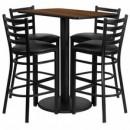 Flash Furniture RSRB1020-GG 24'' x 42'' Rectangular Walnut Laminate Table Set with 4 Ladder Back Metal Bar Stools, Black Vinyl Seat