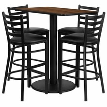 Flash Furniture RSRB1020-GG 24'' x 42'' Rectangular Walnut Laminate Table Set with 4 Ladder Back Metal Bar Stools, Black Vinyl Seat