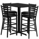 24''W x 42''L Rectangular Black Laminate Table Set with 4 Ladder Back Metal Bar Stools - Black Vinyl Seat