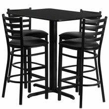 Flash Furniture HDBF1017-GG 24''W x 42''L Rectangular Black Laminate Table Set with 4 Ladder Back Metal Bar Stools Black Vinyl Seat
