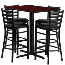 Flash Furniture HDBF1018-GG 24''W x 42''L Rectangular Mahogany Laminate Table Set with 4 Ladder Back Metal Bar Stools Black Vinyl Seat