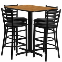 Flash Furniture HDBF1019-GG 24''W x 42''L Rectangular Natural Laminate Table Set with 4 Ladder Back Metal Bar Stools Black Vinyl Seat