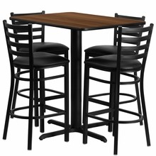 Flash Furniture HDBF1020-GG 24''W x 42''L Rectangular Walnut Laminate Table Set with 4 Ladder Back Metal Bar Stools Black Vinyl Seat