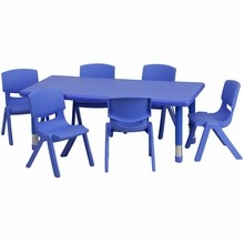 """Flash Furniture YU-YCX-0013-2-RECT-TBL-BLUE-E-GG 24""""W x 48""""L Adjustable Rectangular Blue Plastic Activity Table Set with 6 School Stack Chairs"""