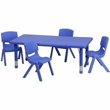 """Flash Furniture YU-YCX-0013-2-RECT-TBL-BLUE-R-GG 24""""W x 48""""L Adjustable Rectangular Blue Plastic Activity Table Set with 4 School Stack Chairs"""