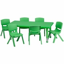 Flash Furniture YU-YCX-0013-2-RECT-TBL-GREEN-E-GG 24''W x 48''L Adjustable Rectangular Green Plastic Activity Table Set with 6 School Stack Chairs