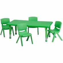 "Flash Furniture YU-YCX-0013-2-RECT-TBL-GREEN-R-GG 24""W x 48""L Adjustable Rectangular Green Plastic Activity Table Set with 4 School Stack Chairs"