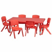 Flash Furniture YU-YCX-0013-2-RECT-TBL-RED-E-GG 24''W x 48''L Adjustable Rectangular Red Plastic Activity Table Set with 6 School Stack Chairs