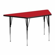 """Flash Furniture XU-A2448-TRAP-RED-H-A-GG 24""""W x 48""""L Trapezoid Activity Table with 1.25"""" Thick High Pressure Red Laminate Top and Standard Height Adjustable Legs"""