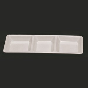 "Thunder Group PS5103W Passion White Melamine 3 Compartment Rectangular Tray 15"" x 6 1/4"""