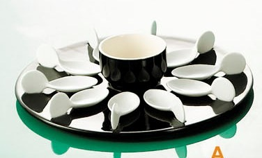 CAC China PTP-21-BLK Party Collection (10) White Tasting Spoons, Round Black Tray, 7 oz. Bowl Set