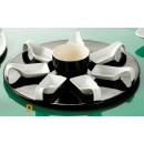 """CAC China PTP-23-BLK Party Collection 7 Square Spoon Set with 12 3/4"""" Black Tray and 7 oz. Bowl"""