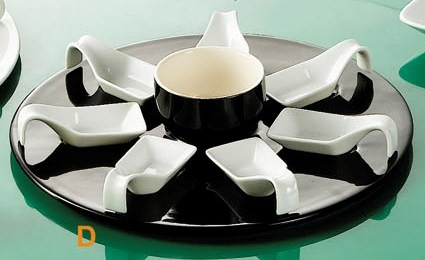 CAC China PTP-23-BLK Party Collection (7) Square Tasting Spoons, Round Black Tray, 7 oz. Bowl Set