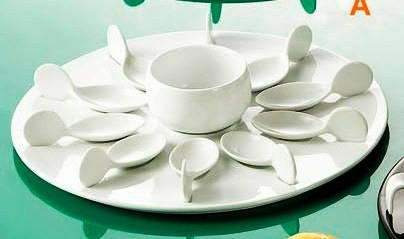 CAC China PTP-21-W Party Collection (10) White Tasting Spoons, Round White Tray, 7 oz. Bowl Set