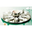 """CAC China PTP-21-SL Party Collection 10 Spoon Set with 12 1/4"""" Silver Tray and 7 oz. Bowl"""