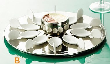 CAC China PTP-21-SL Party Collection (10) White Tasting Spoons, Round Silver Tray, 7 oz. Bowl Set