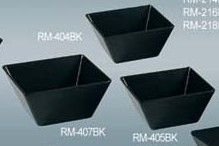 "Yanco rm-404bk Rome 3 3/4"" x 2 1/2"" Square Black Melamine Bowl 10 oz."
