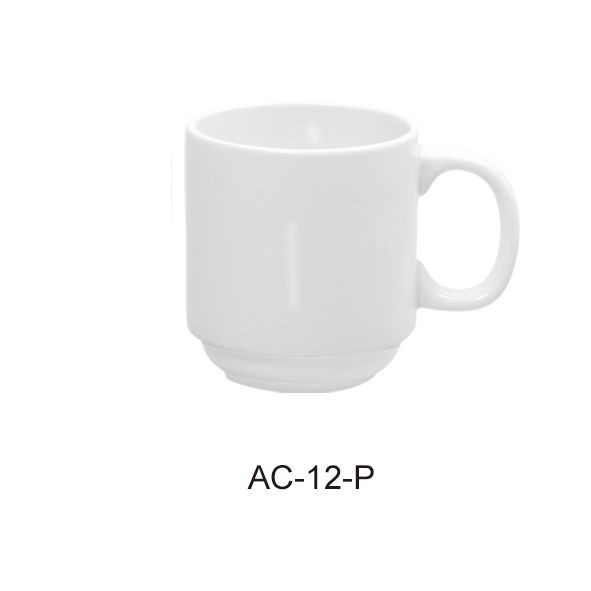 "Yanco AC-12-P Abco 3 7/8"" x 3 1/2"" Stackable Prime Mug 12 oz."