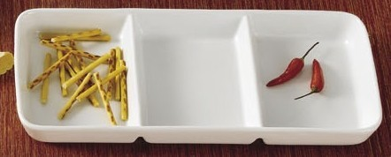 "CAC China CN-3T13 Rectangular 3-Compartment Tasting Tray 12 1/2"" x 5 1/2"" x 1 1/8"""
