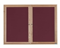 """Aarco Products ODC3672-3 3-Door Red Oak Enclosed Message Centers 36""""H x 72""""W"""
