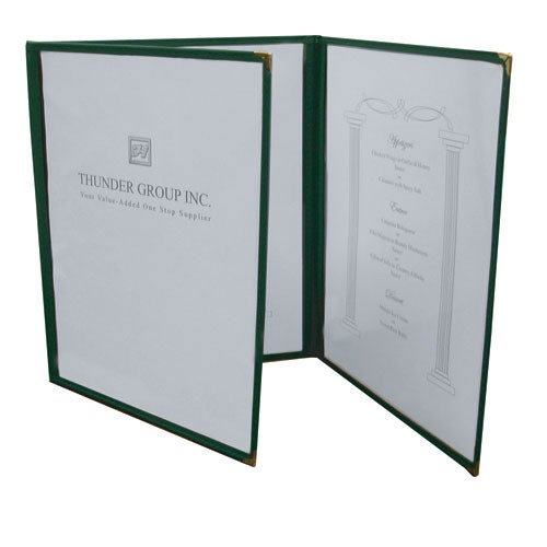 "Thunder Group PLMENU-3 3 Fold Clear Menu Cover 8-1/2"" x 11"""