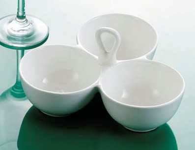 CAC China COL-40 Collection 3 Leaves Bowl with Handle 8 oz.