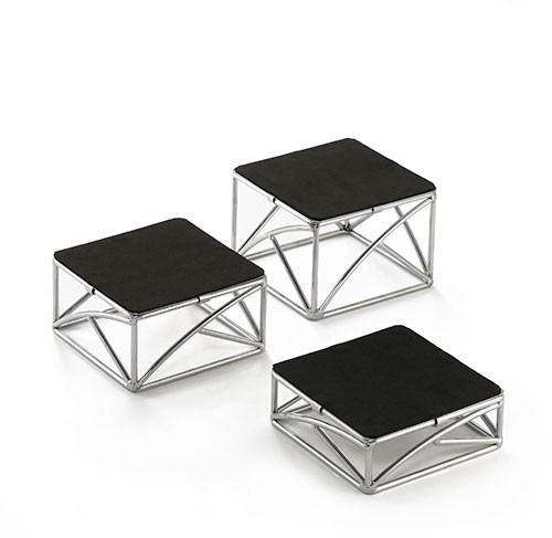 "TableCraft CR3 3-Piece Chrome Plated Square Metal Riser Set, 2"", 3"", 4"""
