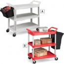 3-Shelf Service Cart, 200-lb Cap., 18 5/8w x 33 5/8d x 37 3/4h, Red