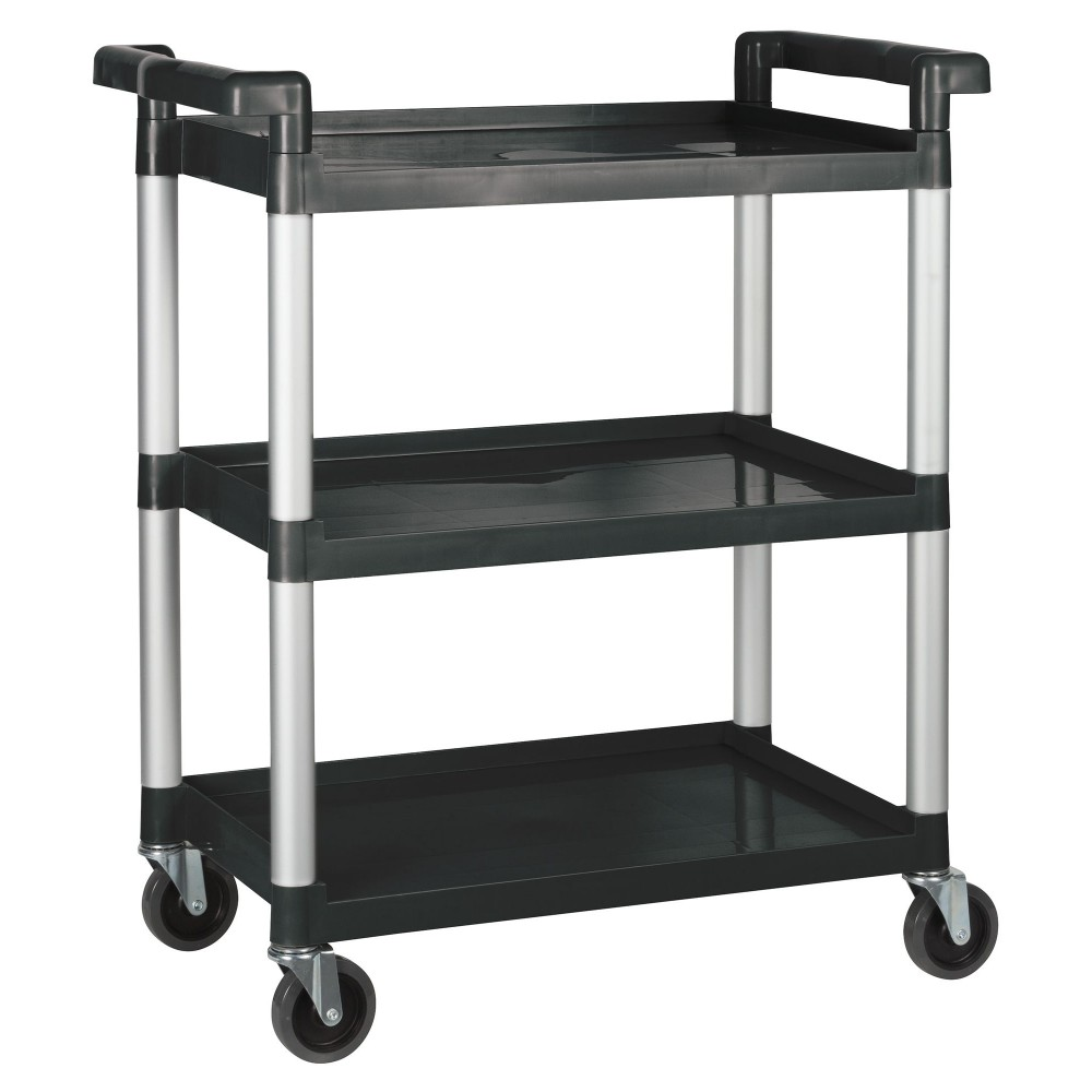 "Winco UC-35K 3-Tier Black Plastic Utility Cart 33-1/4"" x 17"" x 37-1/2"""