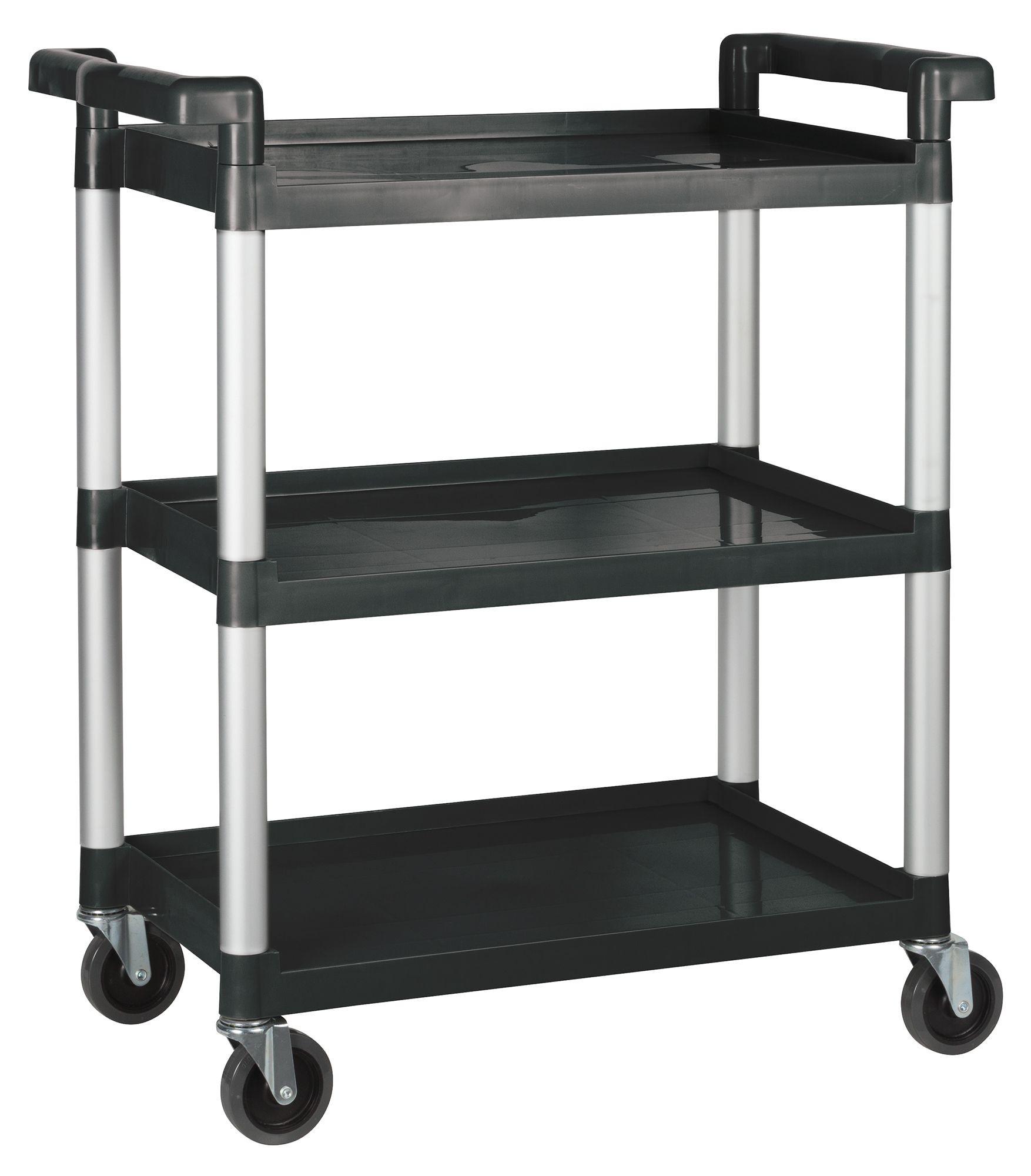 "Winco UC-35K 3-Tier Black Plastic Utility Cart 33-1/4"" x 17"" x 37-1/2"""