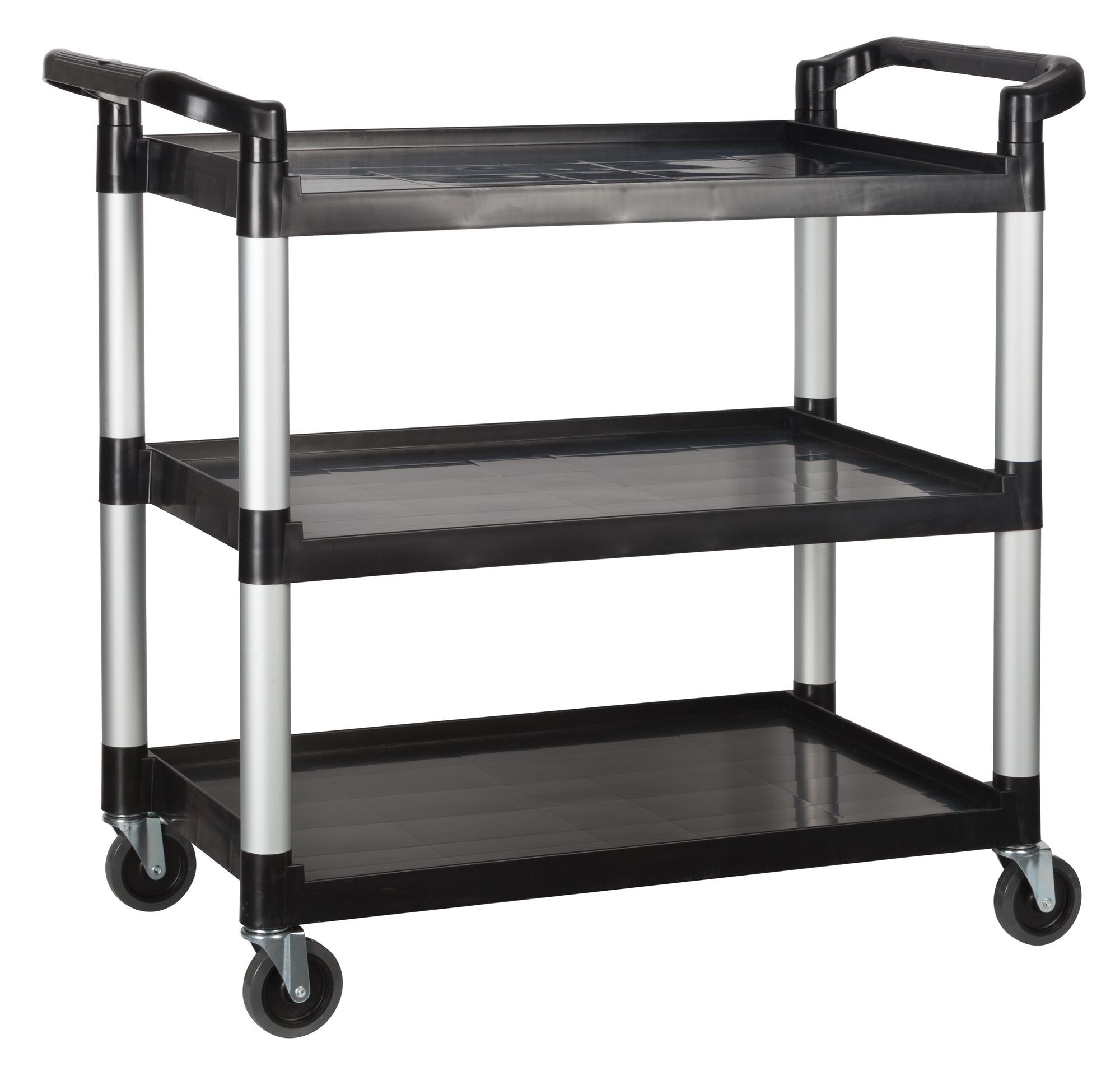 "Winco UC-40K 3 Tier Black Utility Cart 40"" x 19-3/4"" x 37-1/2"