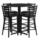 30'' Round Black Laminate Table Set with X Base with 4 Ladder Back Metal Bar Stools - Black Vinyl Seat