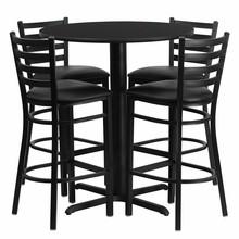Flash Furniture HDBF1021-GG 30'' Round Black Laminate Table Set with 4 Ladder Back Metal Bar Stools Black Vinyl Seat